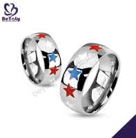 2015 top design star stainless steel ring for newlyweds