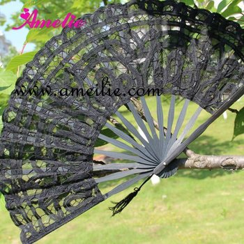 27cm Black groom and bride wedding favor Lace Fan