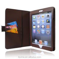 Genuine Leather Chocolate Brown Wallet With Card Slot Case for Apple iPad Mini + SP