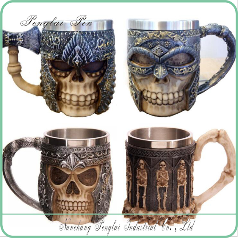 2017 Personalized Coffee Mugs Double Wall 3D Skull Mugs Coffee <strong>Cup</strong> Mug Skull Knight Tankard Dragon Drinking <strong>Cup</strong>