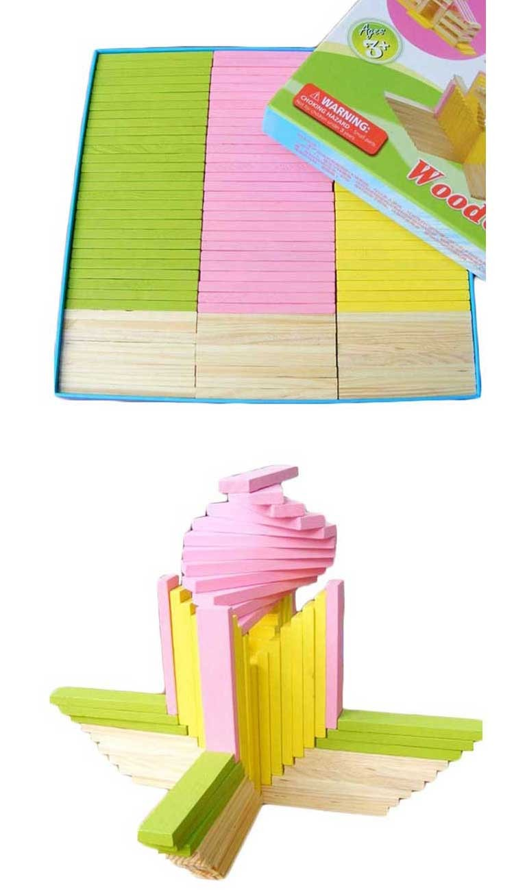 Baby Intelligence Toy Wooden Colored Blocks Wood Intelligence Puzzle