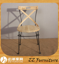 Cheap wood Matel cross chair for restaurant