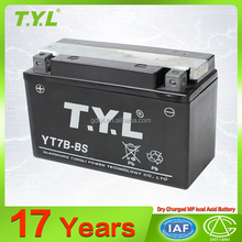 YT7B-BS TYL brand factory price 12v6ah dry charged motorcycle battery with OEM & ODM