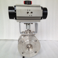2 way V shape cf8m stainless steel airpowered ball valve