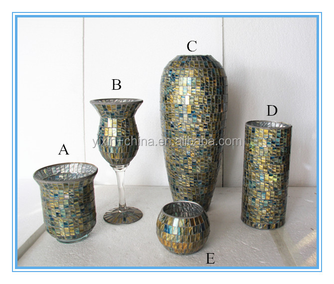 Cheap handmade silver mosaic glass vase bathroom sets for for Silver mosaic bathroom accessories