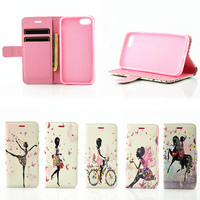 Most Popular Lady Style Cute Printing Pattern PU Leather Flip Case for iPhone 7