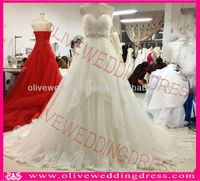 JH00016 Real photos Dress Sweetheart lace Long Cathedral train Ruffle Tulle bridal wedding gown
