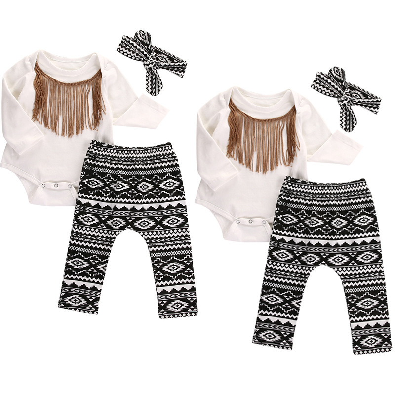 Retail Baby Girls Christmas Outfits Girls New Cotton Tassels Romper Set Children Snowflag Winter Outerwear Girls Clothing