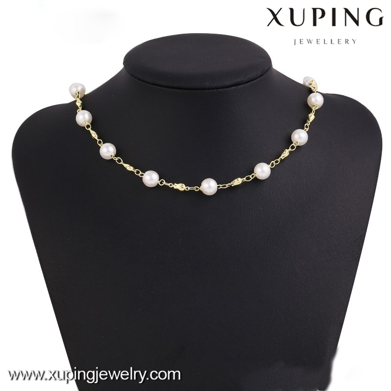 42771 xuping jewelry gold necklace, 14k gold color layered wedding Latest Fashion Necklace