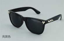2014 new fashion punk style rivet sunglasses with logo printing