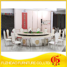 stainless steel marble top dining table withPU leather white dining chair