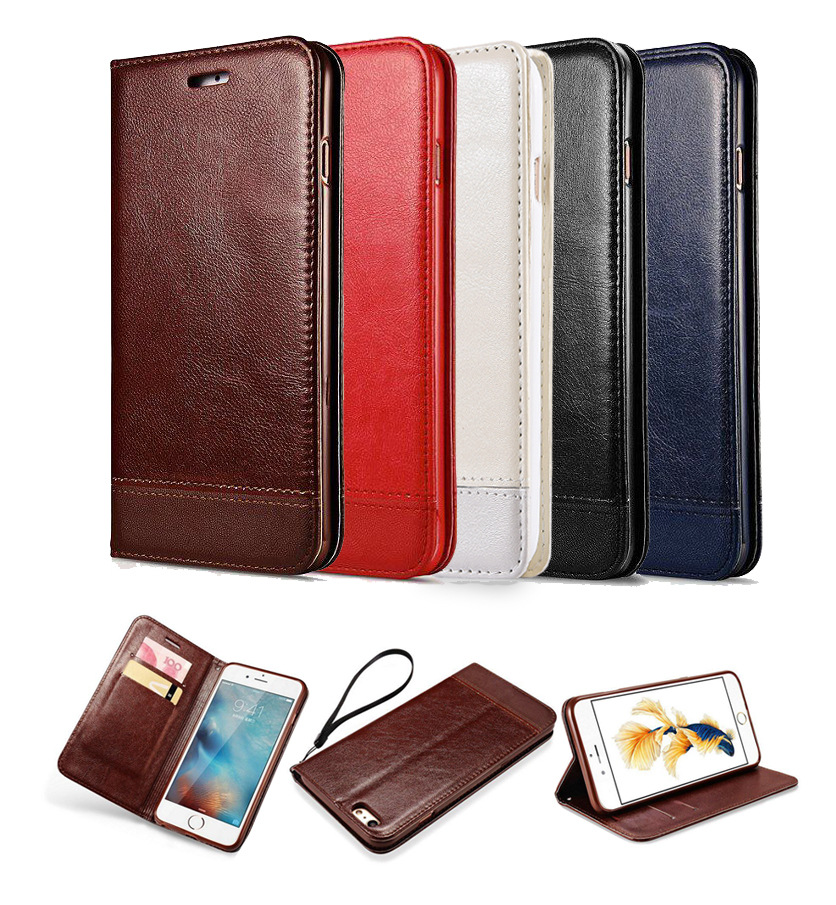 Wholesale pu leather wallet design cell phone case for iphone 6/6s, 6 plus/6s plus, 7/7 plus with card slot