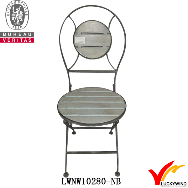 folding old dining chair wood round