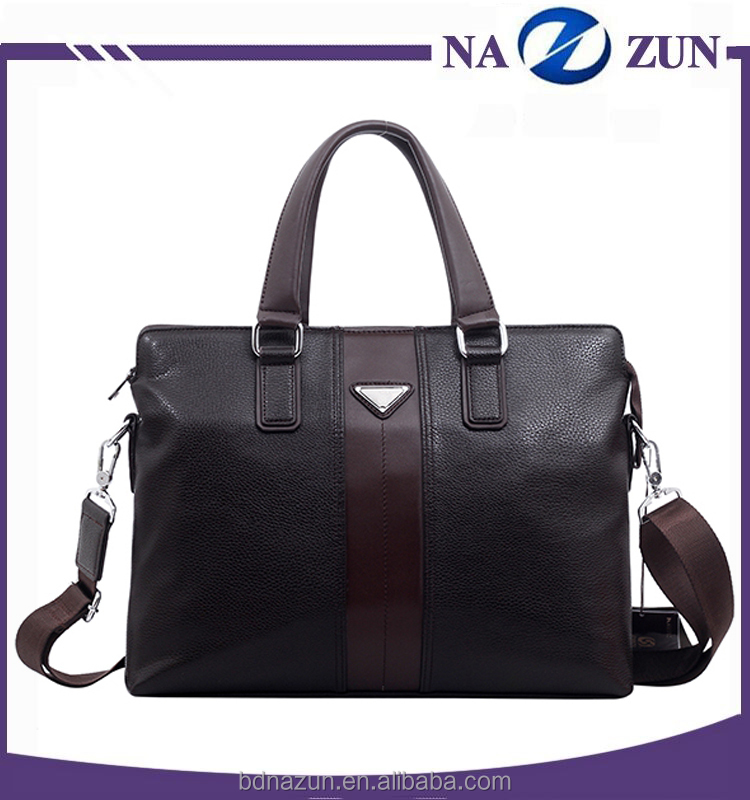 Popular Design Good Quality Lining Custom Metal Logo Leather Briefcase For Men