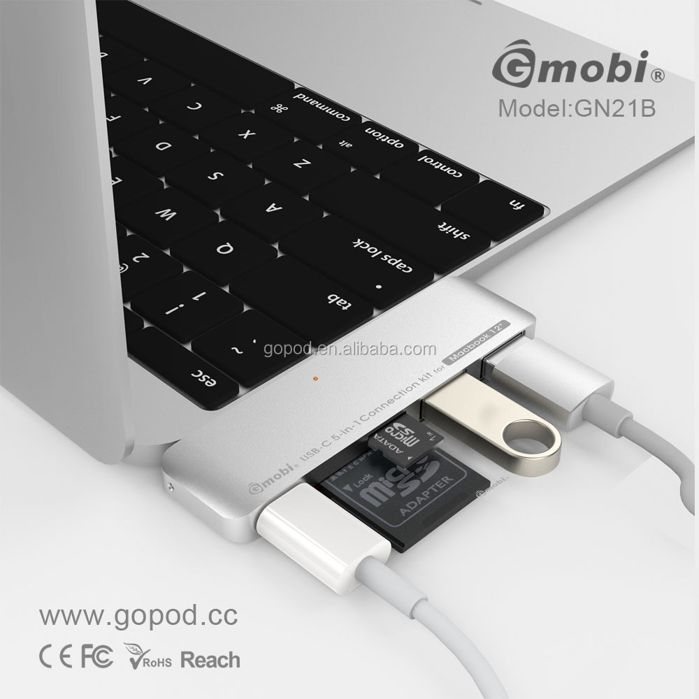 Gopod 2017 usb-c docking station 2 port usb 3.0 hub&nfc card reader