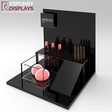 Multi-Level 3 Tier Glorrsary Acrylic Cosmetic Brush And Pen Products Display Stands