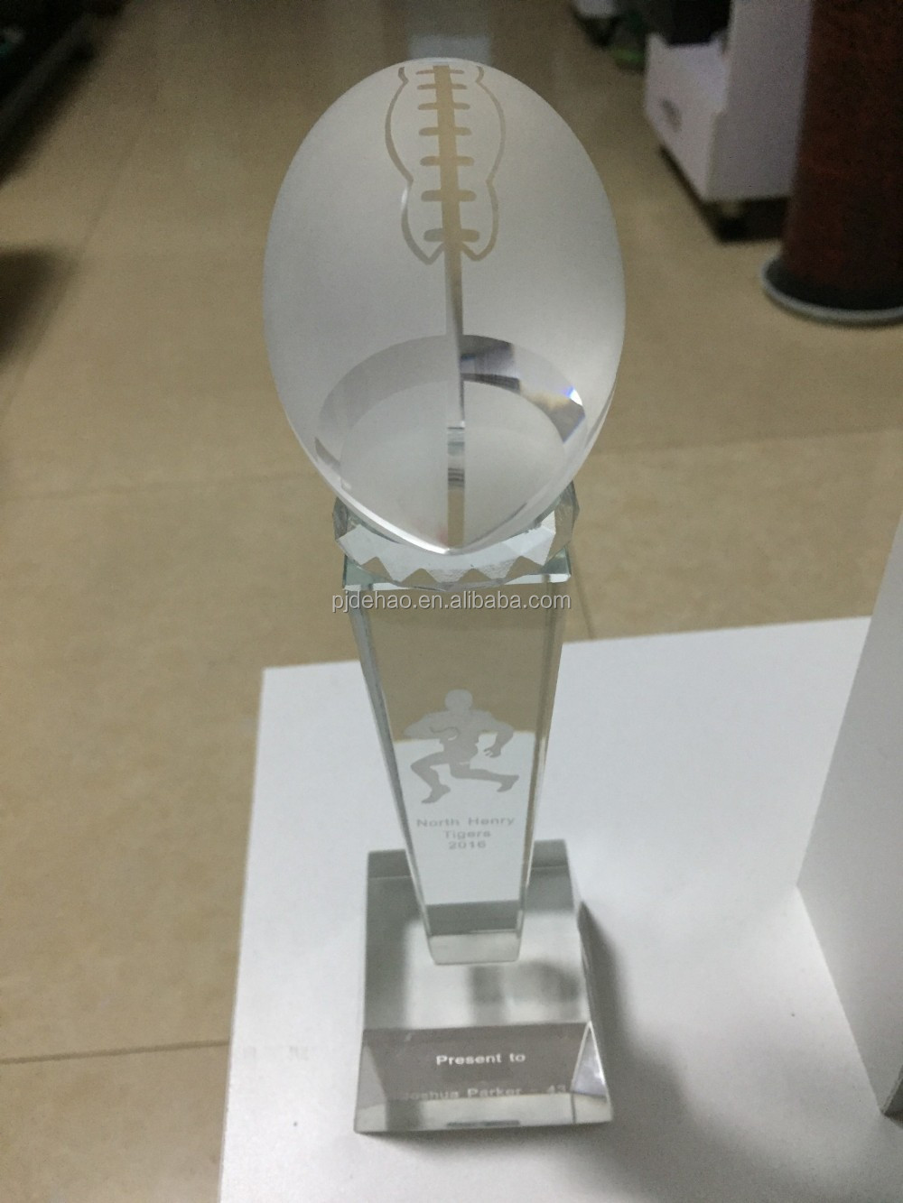 K9 Crystal Glass American Football Trophy
