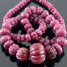 Ruby Carved Pumpkin Beads Strand, Natural Wholesale Beads, Precious & Semi Precious Color Gemstone from Jaipur
