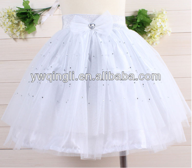 2015 latest high quality pure white gauze skirt for baby girls big bowknot diamante baby skirts