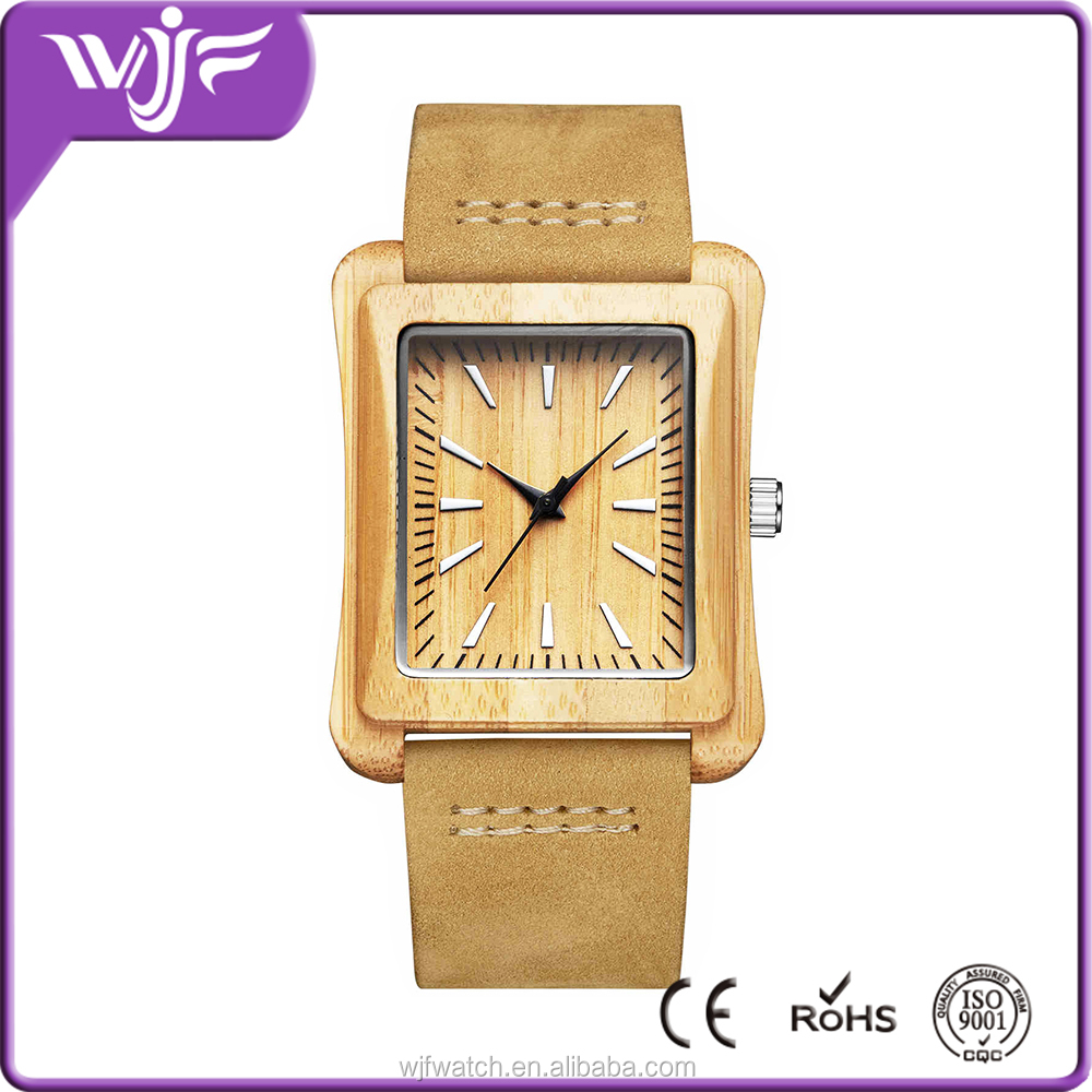 New style square design women simple leather band waterproof wood watch