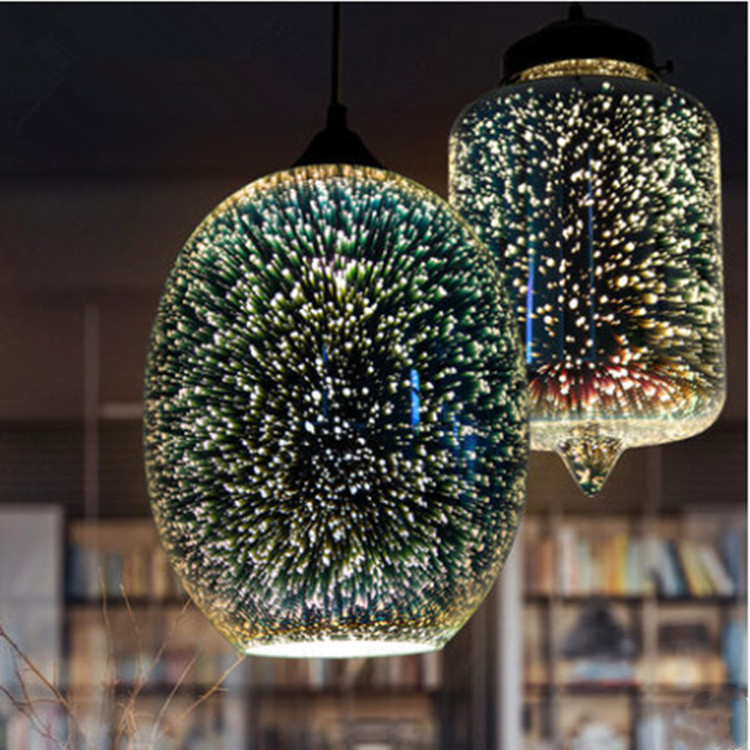 Restaurant Dining Living Room Art decor 3D Fireworks Glass Pendant Light