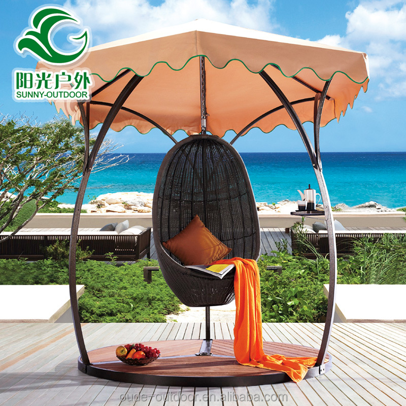 2016 New design patio waterproof outdoor rattan mesh nest adult swing set