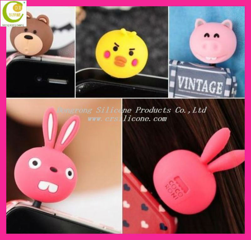 Cartoon Silicone Anti Dust Smartphone Earphone Plug Stopper/earcap 3.5mm For Iphone 4/4s/5,Hot Selling Dust Proof Earphone Plug