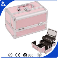 pink aluminium makeup case small beauty case dressing case with mirro tiered trays