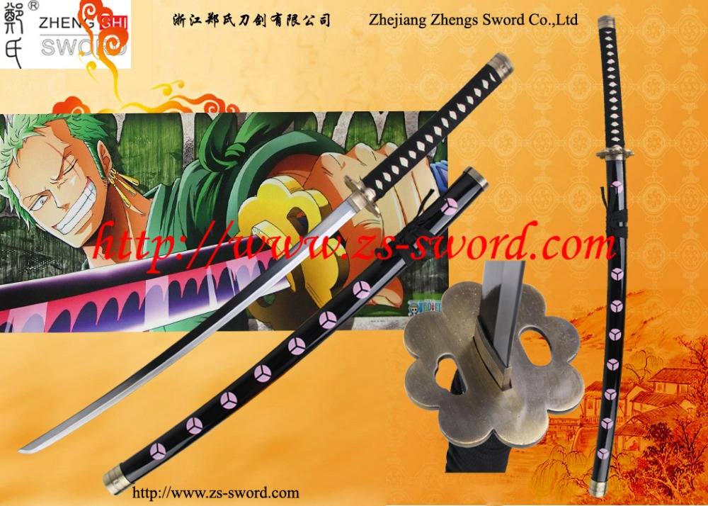 cosplay cartoon & anime black sword one piece roronoa zoro steel samurai katana