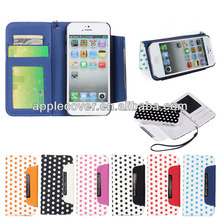 High Quality Fashionable Polka Dot Wallet Case for iPhone 5/5s with Lanyard