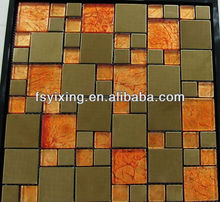 8mm thickness 2013 New Glass Mix Metal Mosaic for wall and floor decoration YX-GM43