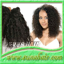 Micro loop ring indian kinky curly machine weft natural human hair extension