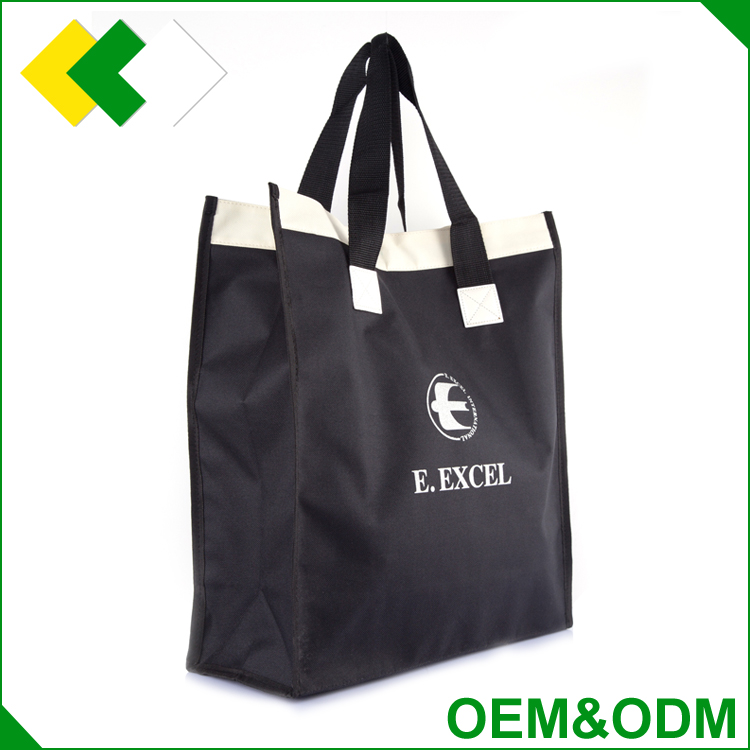 Hot sale customized promotional fabric nylon polyester shopping bag waterproof drawstring tote folding bag polyester
