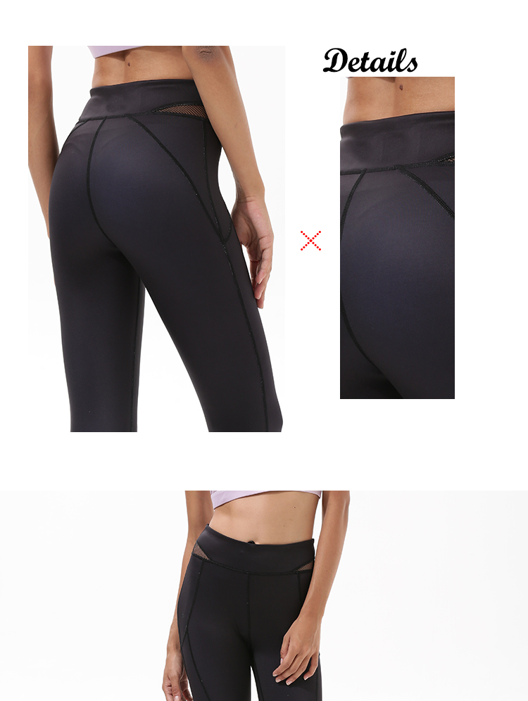 2018 women high waist / rise hot sexy custom blank black mesh compression sports fitness yoga pants with pocket cheap wholesale