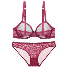 Women Fashion Ultra-Thin Transparent Ladies Sexy Panty And Bra Sets