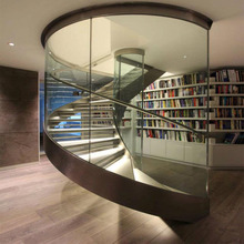 Commercial Building Interior Curved Stair with Wooden Steps