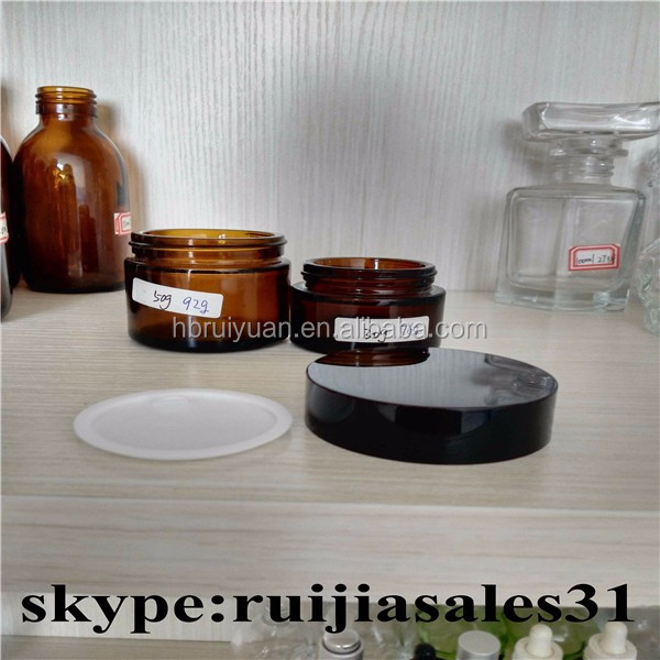 30ML 1 OZ Amber Clear Glass Empty Refillable Cosmetic Cream Jar Pot Bottle with lid