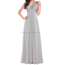 Grey one shoulder straps chiffon mother of the bridal evening party prom dress