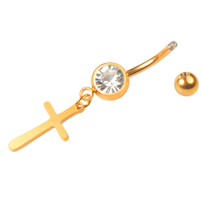 New arrival stainless steel gold single bezel set crystal cross dangle belly button ring navel piercing wholesale