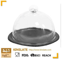 Natual slate Multifunctional Serving Platter and Cake Plate With Dome