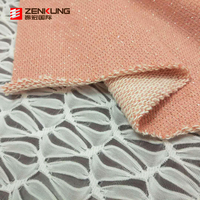 factory price 80% cotton 20% polyester cvc silver lurex french terry in knit fabric for garment