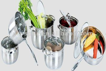 12 Pcs stainless steel Cookware Set with glass Lid