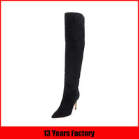 black long suede boot/long boots for women/ladies long boots