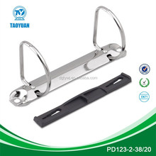 Metal D shape 2 ring binder mechanism with plastic compressor bar