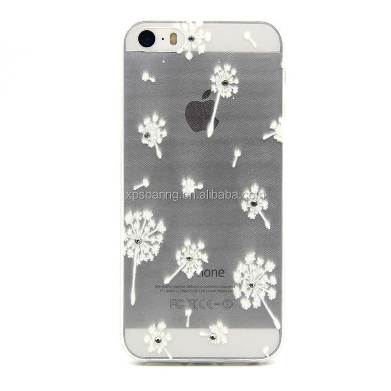 For iPhone 5G 5S diamond tower flower tpu case cover, Mobile phone cover for iphone 5S