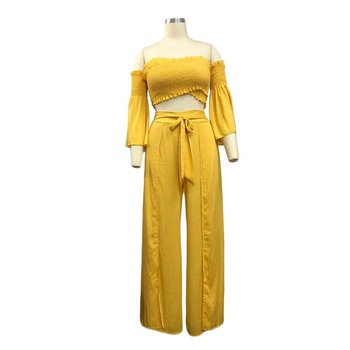 Women Clothing Sexy Jumpsuits Two-piece  Clothes Sexy Trousers Yellow Women Clothing Pants