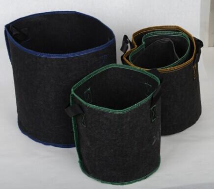 Tan Round Felt Gallon Fabric Pot With Handles Grow Bags