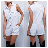Korean Pants Design Pocket Turn-Down Collar White Jumpsuit Women Summer
