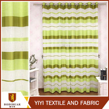 China high quality stripe style Cheap fancy wholesale green sheer window curtain