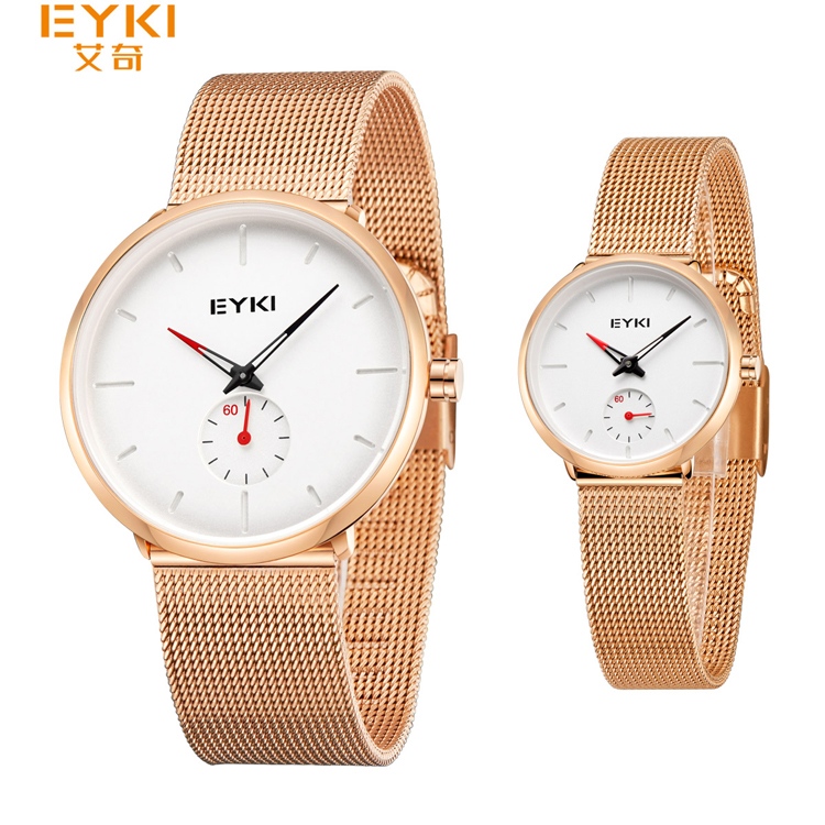 EYKI D5003LS Couple Business Steel Strap Watch Unique 2 Dial Water Resistant 30m Simple Fashion 3 Tone Color Hands Watches